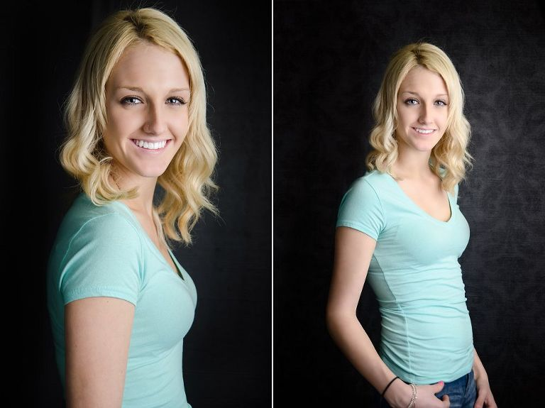 teen girl posing for studio photo shoot
