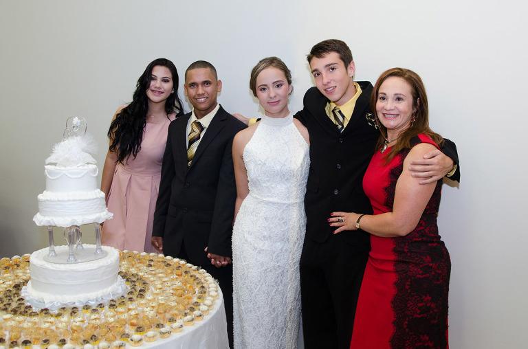 family portrait on wedding day