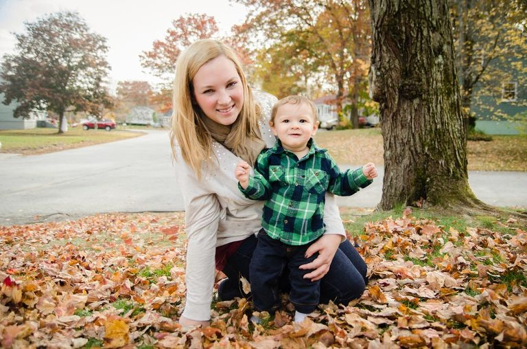 Mom and Baby boy on fall leaves