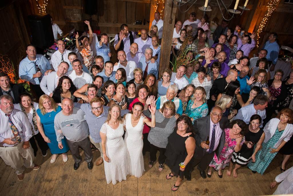 group shoot at wedding reception